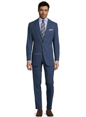 Синий костюм из шерсти и шелка