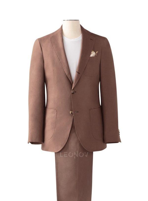Мягкий костюм из льна терракотовый