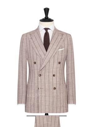 Кремовый костюм в кирпичную меловую полоску