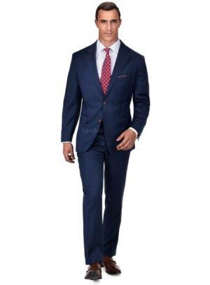 ремиальный глубокий синий костюм из шерсти и шелка