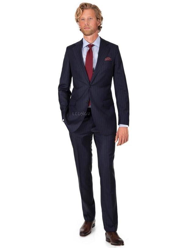 Темно-синий костюм в меловую полоску – Vitale Barberis в ...  Темно Синий Костюм Рубашка