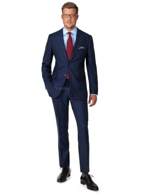 Премиальный клетчатый синий костюм