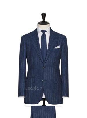Синий костюм в тонкую светлую полоску