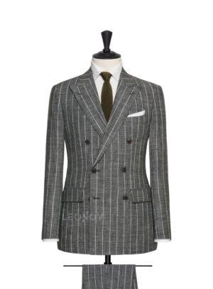 Каменно-серый костюм в тонкую полоску