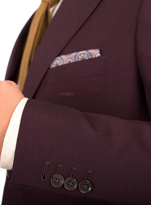Бордовый костюм из шерсти и шелка премиальный