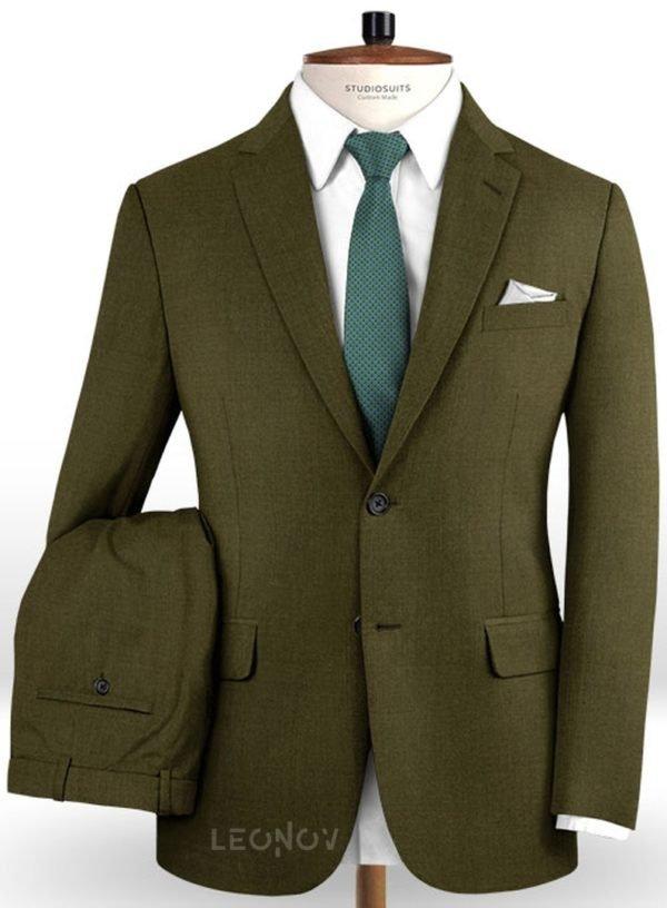 Костюм темно-зеленый из чистой шерсти