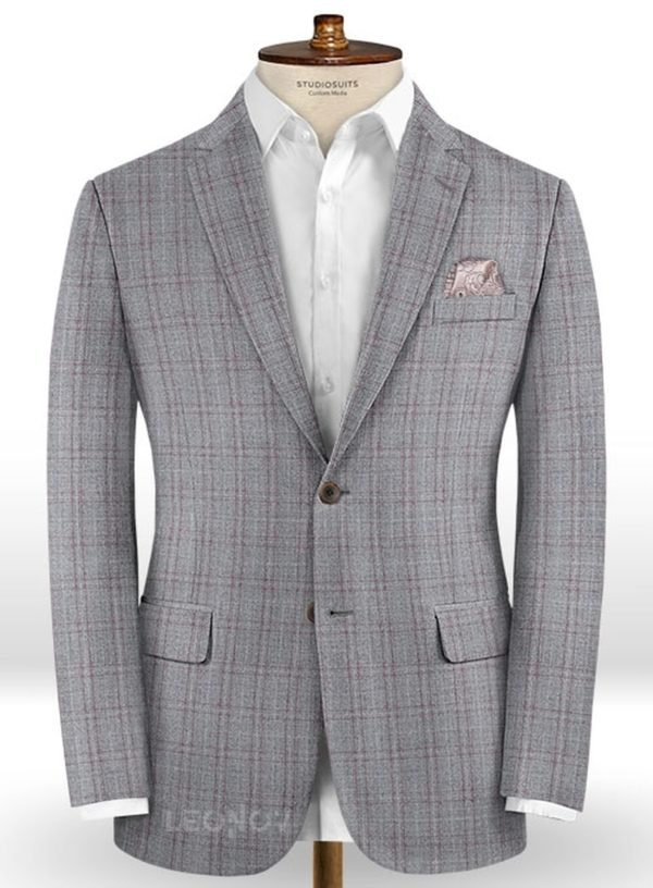 Серый пиджак в светлую клетку из шерсти – Reda