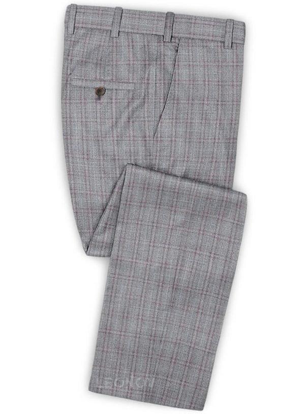 Серый брюки в светлую клетку из шерсти – Reda