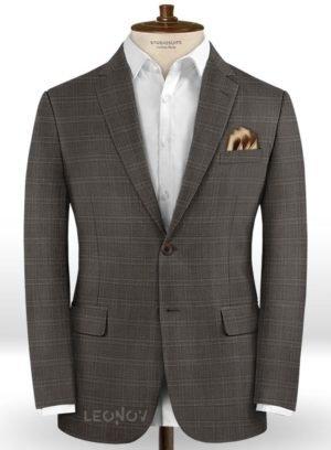 Деловой коричневый пиджак в светлую клетку из шерсти – Reda