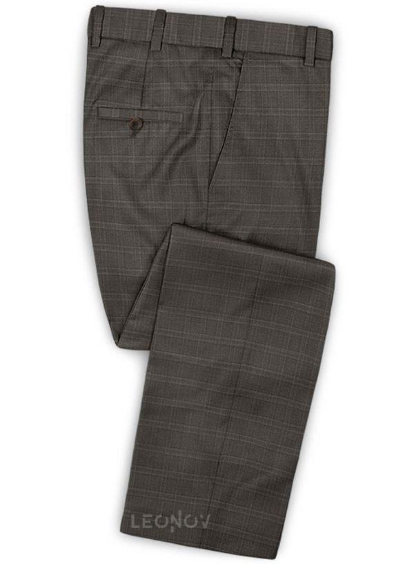 Деловые коричневые брюки в светлую клетку из шерсти – Reda