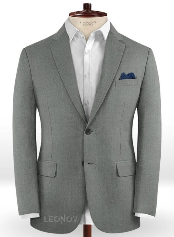 Серый деловой пиджак из чистой шерсти – Reda