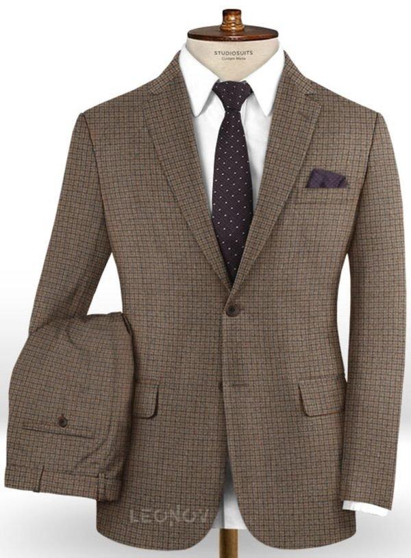 Классический коричневый костюм в мелкую синюю клетку из шерсти