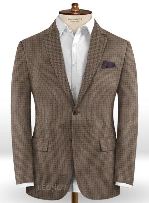 Классический коричневый пиджак в мелкую синюю клетку из шерсти – Reda