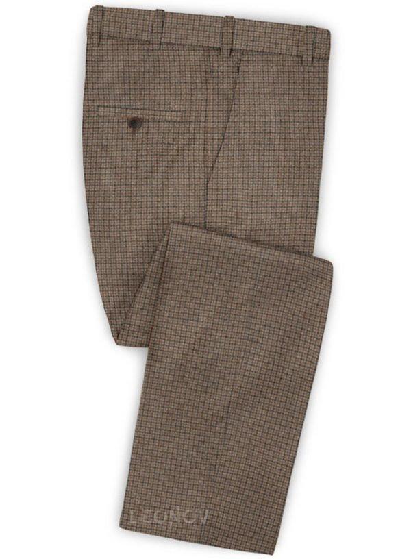 Классические коричневые брюки в мелкую синюю клетку из шерсти – Reda