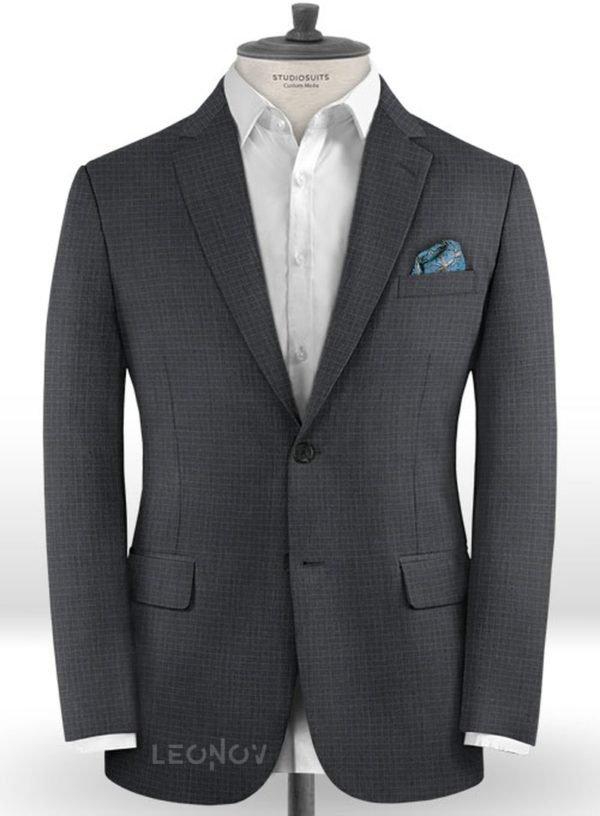 Темно-серый деловой пиджак в мелкую клетку из шерсти – Reda