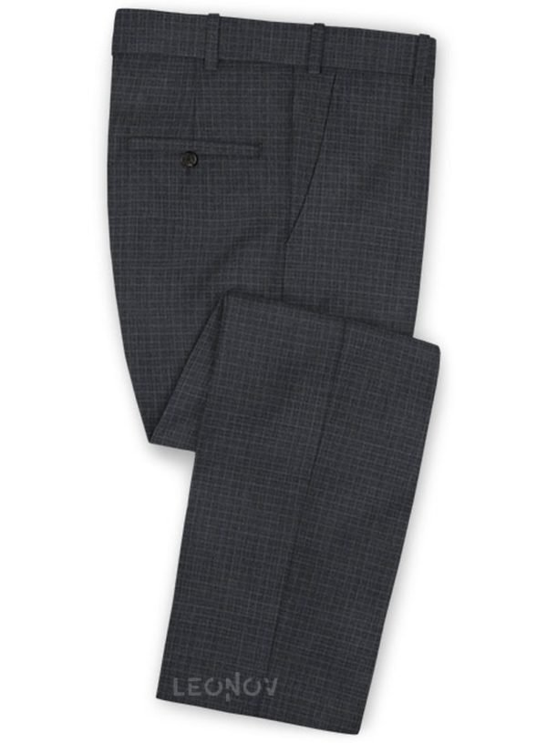 Темно-серые деловые брюки в мелкую клетку из шерсти – Reda
