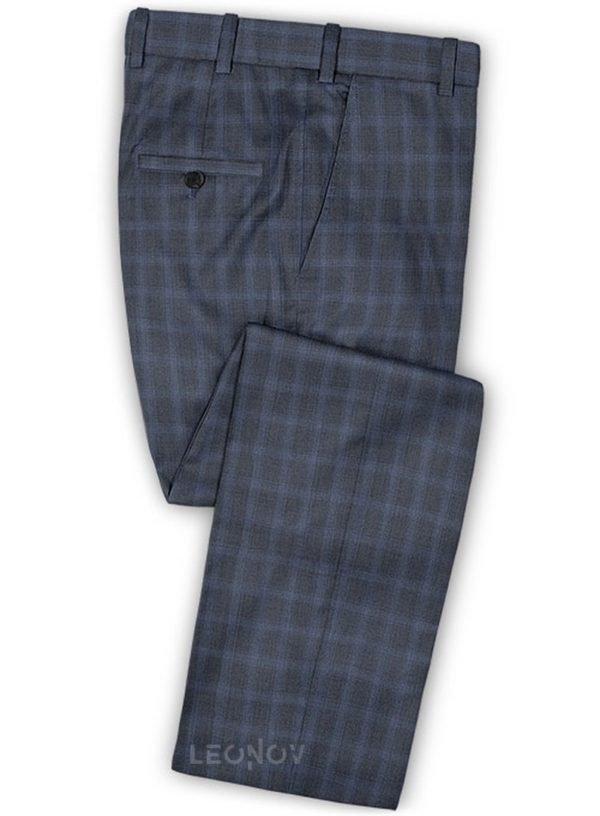 Синие брюки в ярко-синюю клетку из шерсти – Reda