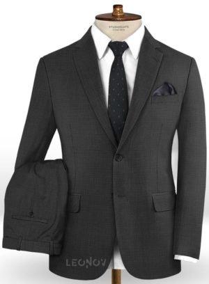 Серый повседневный костюм в мелкую клетку из шерсти