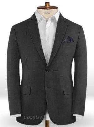 Серый повседневный пиджак в мелкую клетку из шерсти – Reda