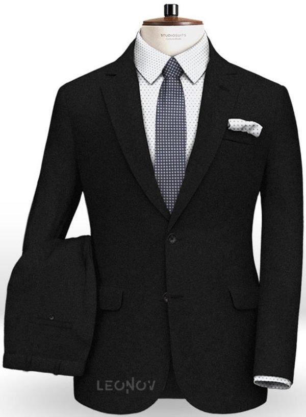 Черный фланелевый костюм из чистой шерсти