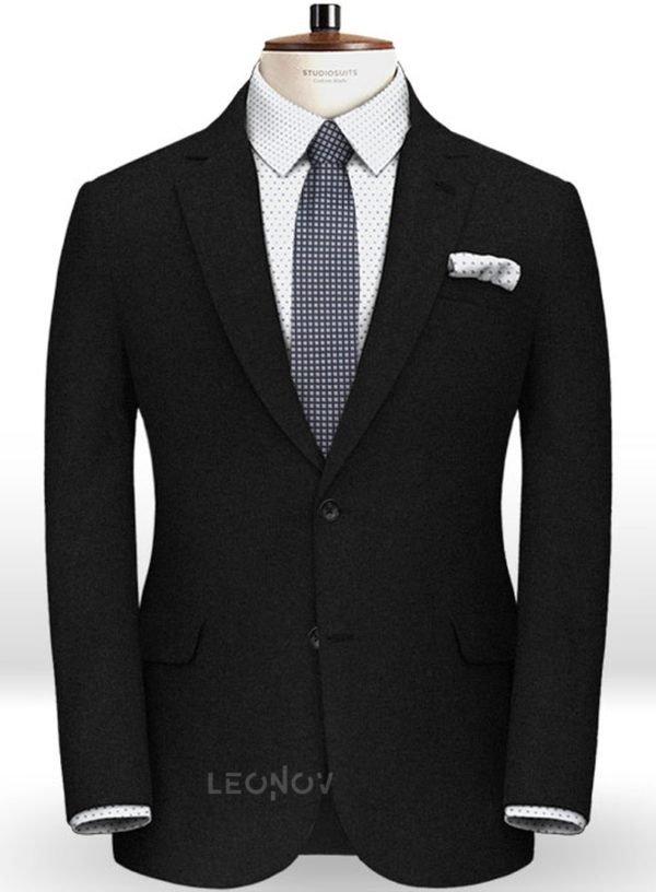 Черный фланелевый пиджак из чистой шерсти – Reda