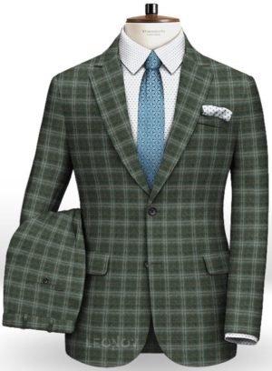 Зеленый фланелевый клетчатый костюм из чистой шерсти
