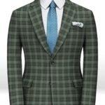 Зеленый фланелевый клетчатый пиджак из чистой шерсти – Reda