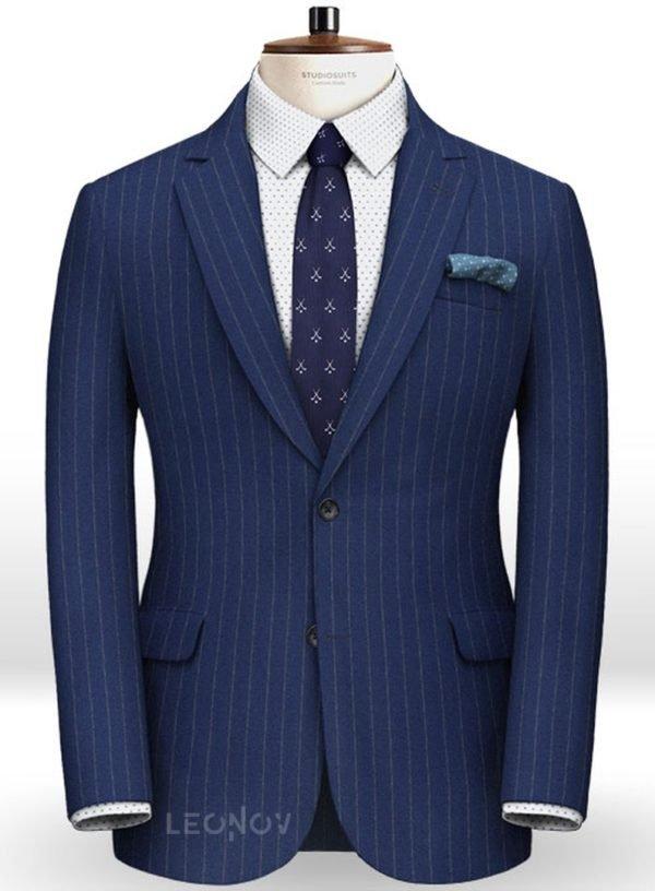 Фланелевый пиджак королевский синий в полоску из чистой шерсти – Reda