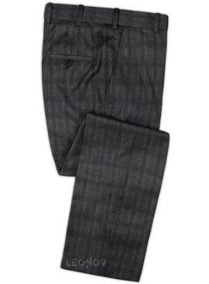 Темно-серые брюки в клетку из шерсти – Reda