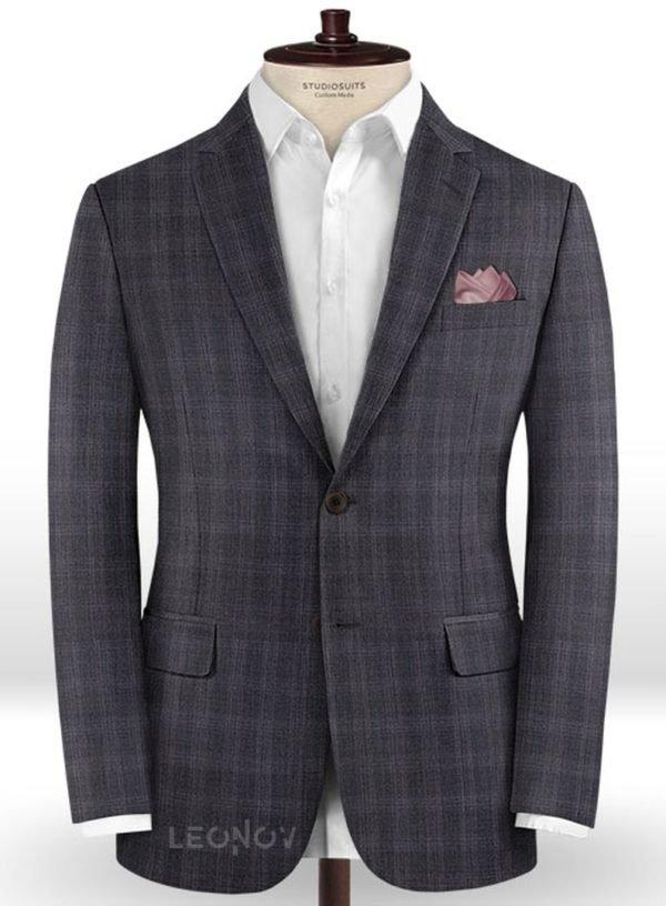 Темно-коричневый деловой пиджак в клетку из шерсти – Reda