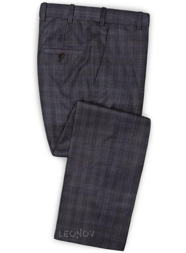 Темно-синие деловые брюки в мелкую клетку из шерсти – Reda