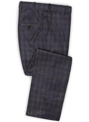 Темно-коричневые деловые брюки в клетку из шерсти – Reda