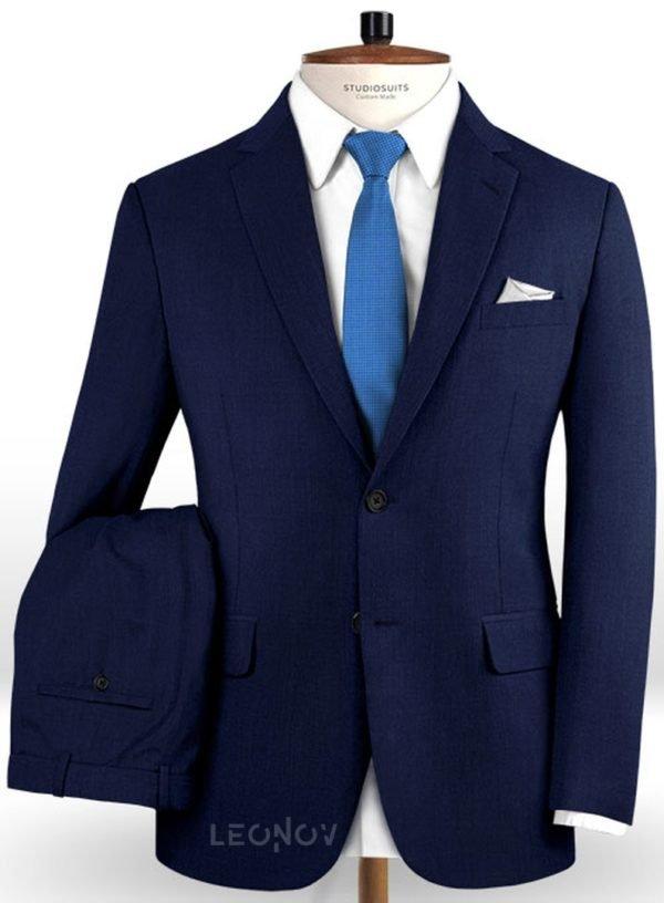 Костюм цвета сапфировый синий из чистой шерсти