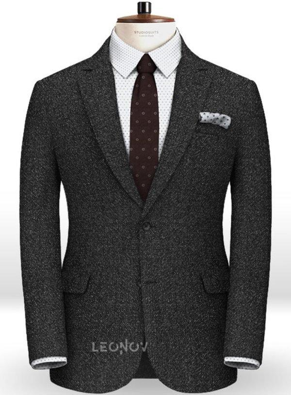 Дымчатый черный пиджак из чистой шерсти – Reda