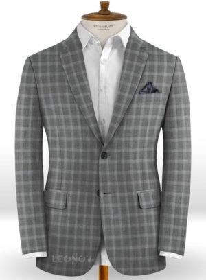 Серый пиджак в светлую мелкую клетку из шерсти – Reda
