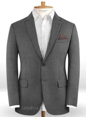 Офисный серый пиджак в мелкую клетку из шерсти – Reda
