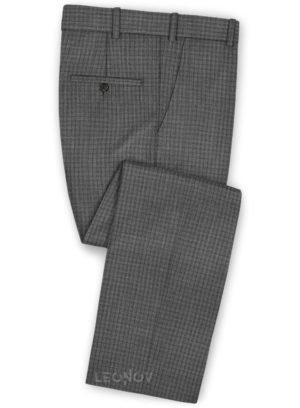 Офисные серые брюки в мелкую клетку из шерсти – Reda