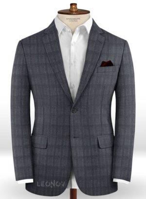 Серый повседневный пиджак в темную клетку из шерсти – Reda
