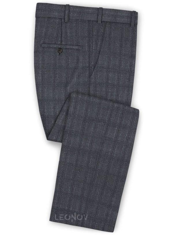 Серые повседневные брюки в темную клетку из шерсти – Reda