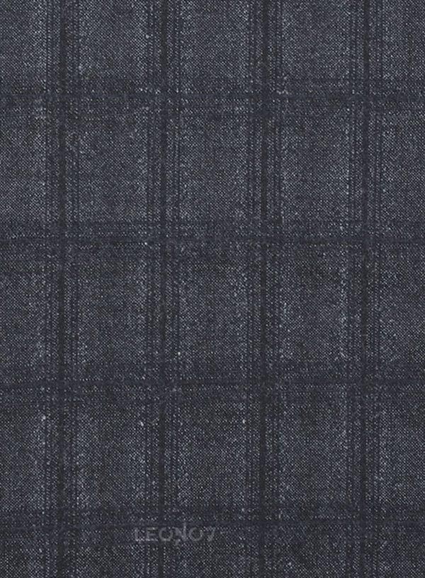 Серый повседневный костюм в темную клетку из шерсти