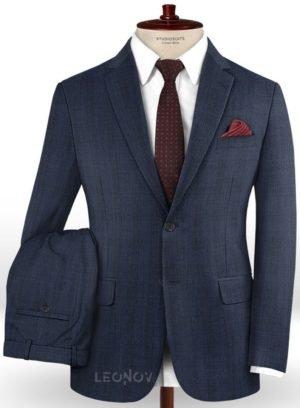 Синий деловой костюм в клетку из шерсти