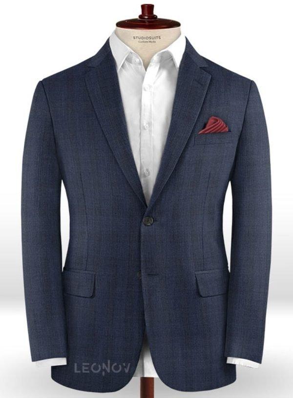 Синий деловой пиджак в клетку из шерсти – Reda