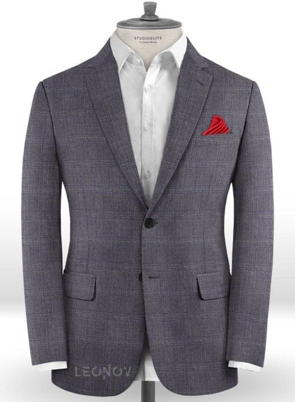Темно-серый деловой пиджак в клетку из шерсти – Reda