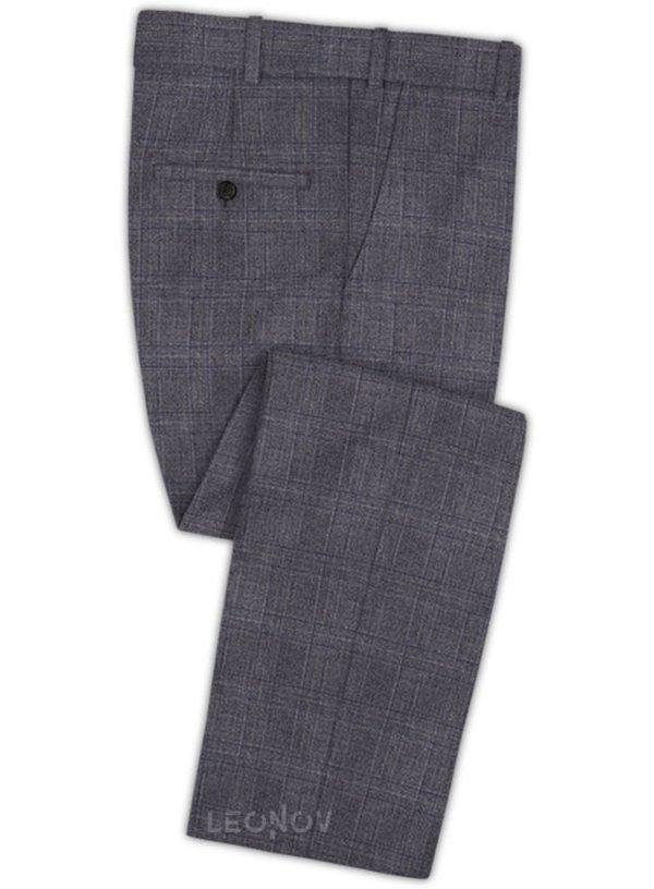 Темно-серые деловые брюки в клетку из шерсти – Reda