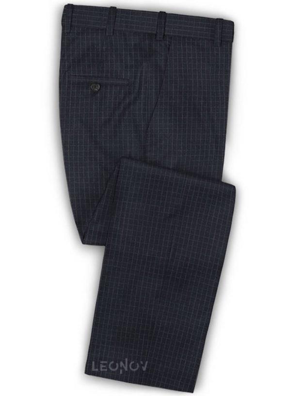 Темно-синие брюки в мелкую клетку из шерсти – Reda