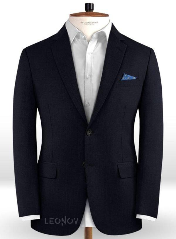Пиджак темно-синий из чистой шерсти – Reda