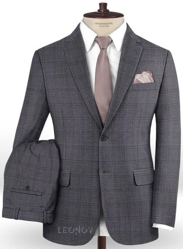Серый повседневный костюм в клетку из шерсти