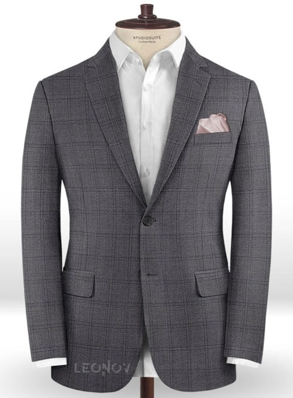 Серый повседневный пиджак в клетку из шерсти – Reda