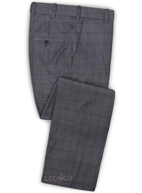 Серые повседневные брюки в клетку из шерсти – Reda
