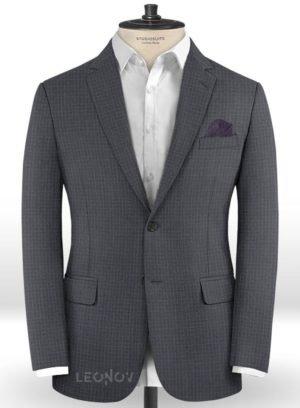 Серый пиджак в мелкую синюю клетку из шерсти – Reda